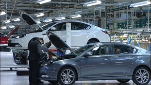 Cars being worked on at MG's Longbridge plant