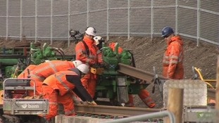 Workers on the line in Galashiels