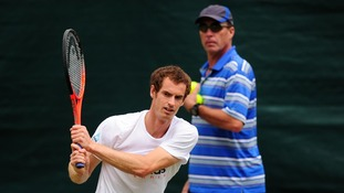 Lendl watches on as Murray practices on Saturday.