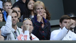 Judy Murray will be supporting her son from the players box inside Centre Court today.