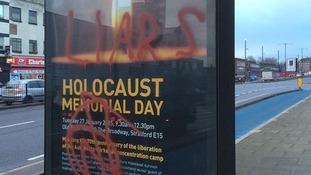 Posters for a Holocaust Memorial Day in Newham, east London were defaced.