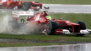 Felipe Maasa struggles to keep his tyres out of the mud during qualifying yesterday.