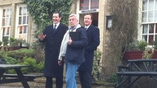 David Cameron and George Osborne with director Peter Rose