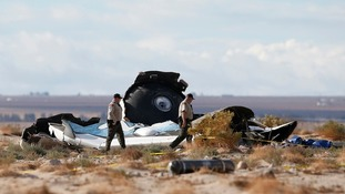 Photograph of wrecked rocket plane that broke apart and crashed in October last year.