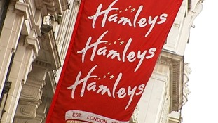 A flag outside Hamleys in Regent Street.