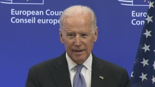 US President Joe Biden speaking in Brussels.