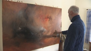 Michael Batey working on a new painting