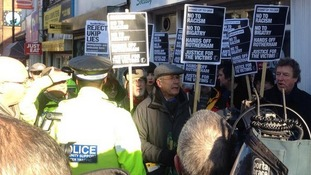 Crowds of protesters gathered outside Ukip's campaign office in Rotherhm.
