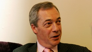 Ukip leader Nigel Farage pictured inside the Rotherham office.