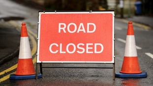 The westbound lane of the A72 is closed at Neidpath