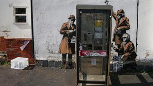 Banksy's 'Spy Booth' graffiti near GCHQ in Cheltenham
