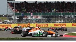 Paul Di Resta driving in the British Grand Prix at Silverstone