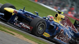 Red Bull Racing Mark Webber on his way to victory during the British Grand Prix at Silverstone Circuit