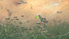 The border town of Diffa in Niger is marked green.