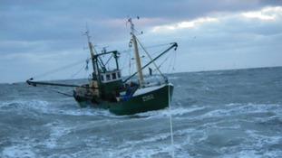 The Belgian trawler in heavy seas off the coast of Harwich.