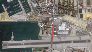 Winston Churchill Avenue, marked red, crosses the border from Gibraltar to Spain.