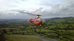 A mountain biker was rescued after falling off his bike in Shropshire this afternoon.