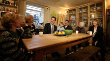 Labour leader Ed Miliband met with families this morning