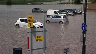 In Weymouth, Dorset, a park and ride car park was flooded