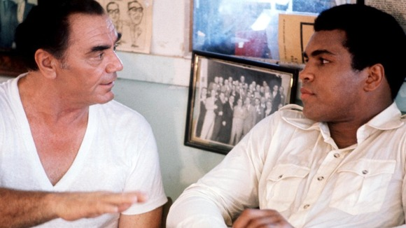 A scene from the film 'The Greatest', starring Muhammad Ali as himself and Ernest Borgnine as trainer Angelo Dundee