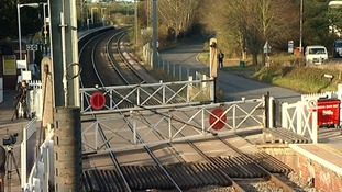 The level crossing next to Elsenham train station in Essex