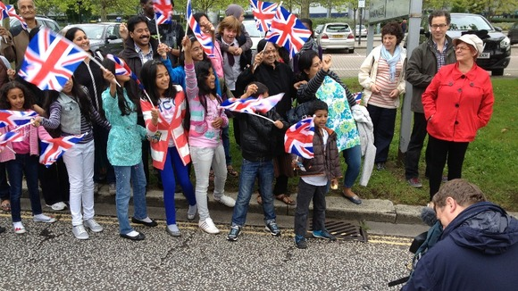 Waiting for the Olympic Torch to arrive in Milton Keynes