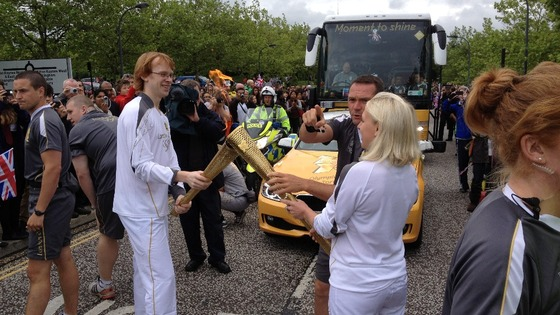 Olympic Torch handover to Gail Emms in Milton Keynes