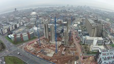 A drone picture from the air of the hospital under construction.