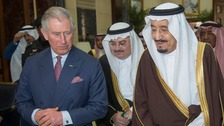 The Prince of Wales attends a bilateral meeting with King Salman bin Abdulaziz Al Saud.