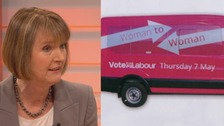 Labour's bright pink 'woman-to-woman' campaign bus.