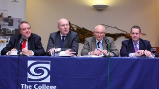 MEPs with college principal David Pomfret (right)