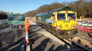 A train at the end of the new Borders Railway line at Tweedbank