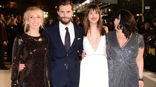 Sam Taylor-Johnson, Jamie Dornan, Dakota Johnson and E L James