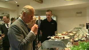 Prince Charles at the Bodnant Welsh Food Centre