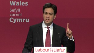 Ed Miliband addresses delegates at the Welsh Labour Party Conference.