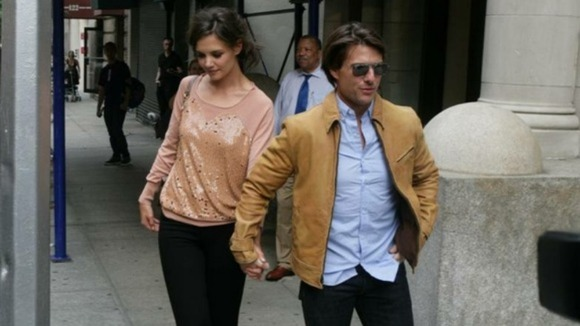 Tom Cruise and Katie Holmes on the way to a broadway show in Times Square during their time together