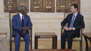 Syria's President Bashar al-Assad meets UN Syria peace envoy Kofi Annan in Damascus