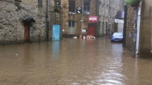 The scene in Hebden Bridge following flash flooding today