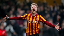 Billy Clarke celebrates the Bantams' opening goal against Sunderland