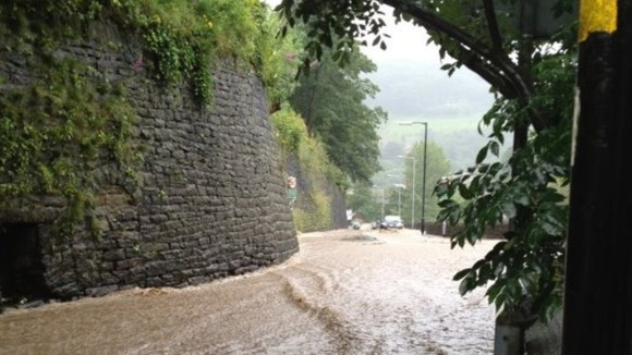 The scene at Keighley Road in Hebden Bridge