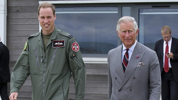 Prince Charles is shown around the RAF Rescue base