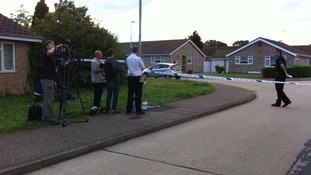 Media gather at murder scene