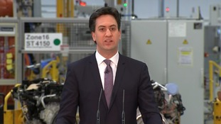 Ed Miliband spoke to employees at Jaguar Land Rover.