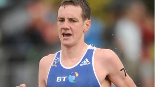 Alistair Brownlee during the running stage of the Dextro Energy Triathlon ITU World Championship Series in Hyde Park in 2011