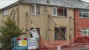 Explosion-damaged house at High Nash in Coleford