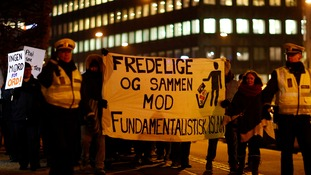 Patriotic Europeans Against the Islamisation of the West (PEGIDA) protest in Copenhagen.
