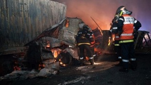 More than 60 firefighters worked through the night to control flames.