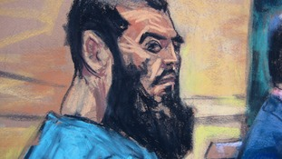 A courtroom sketch of Abid Naseer in his first appearance in US court in 2013.