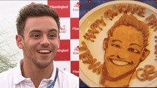 Split screen of Tom Daley and a tribute pancake