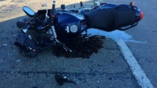 The motorbike was badly damaged